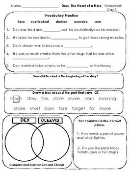 Journeys Second Grade Dex: The Heart of a Hero Homework