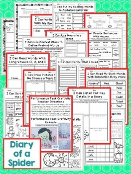 Journeys Second Grade- Diary of a Spider Unit 1 Lesson 4 NO PREP Printables