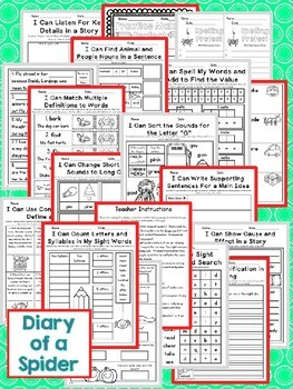 Diary of a Spider Second Grade NO PREP Supplemental Printables