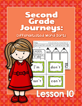 Journeys Second Grade Differentiated Word Sorts Word Work Lesson 10