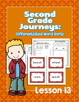 Journeys Second Grade Differentiated Word Sorts Word Work Lesson 13