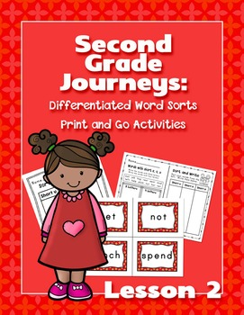 Journeys Second Grade Differentiated Word Sorts Word Work Lesson 2