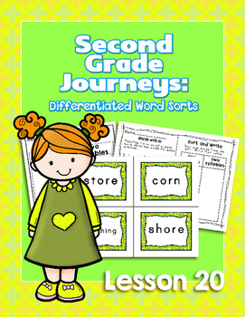 Journeys Second Grade Differentiated Word Sorts Word Work Lesson 20