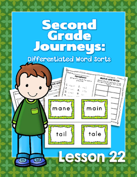 Journeys Second Grade Differentiated Word Sorts Word Work Lesson 22