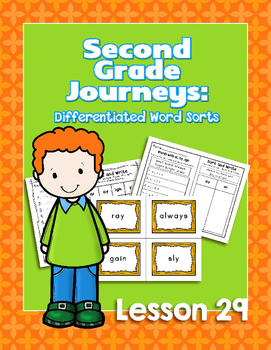 Journeys Second Grade Differentiated Word Sorts Word Work Lesson 29