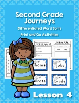 Journeys Second Grade Differentiated Word Sorts Word Work Lesson 4
