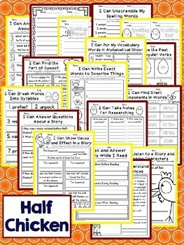 Half Chicken Second Grade NO PREP Supplemental Printables