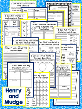 Journeys Second Grade - Henry and Mudge Unit 1 Lesson 1 NO PREP Printables