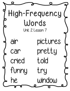 Journeys Second Grade High Frequency Word Posters