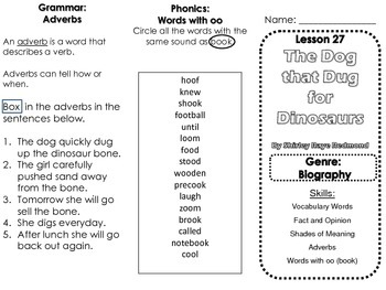 Journeys Second Grade Lesson 27 The Dog that Dug for Dinosaurs Skills Trifold