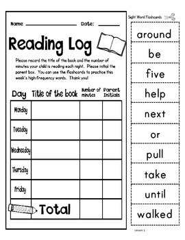 Journeys Second Grade Reading Log with Sight Word Flash Cards by ...