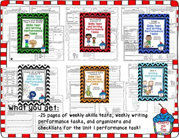 Journeys 2nd Grade- Unit 1 Bundle Skills Tests and Writing Tasks