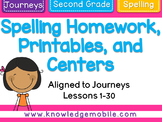 Journeys Second Grade - Spelling Homework, Printables, and