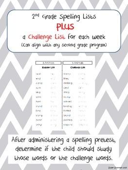 Second Grade Spelling Lists Plus Challenge List