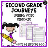 Journeys 2017 Second Grade Spelling Words - Sentence Writing Worksheets