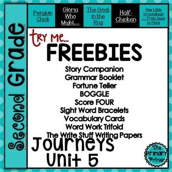 Journeys Second Grade Try Me FREEBIES:  Unit FIVE