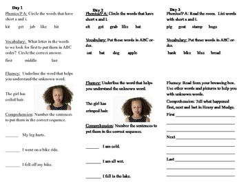 Journeys, Second Grade, Unit 1 Lesson 1, Literacy assingments