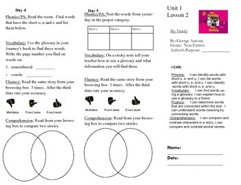 Journeys, Second Grade, Unit 1 Lesson 2, Literacy assignments