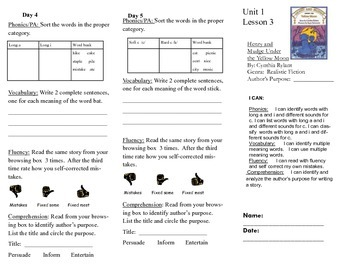 Journeys, Second Grade, Unit 1 Lesson 3, Literacy assignments