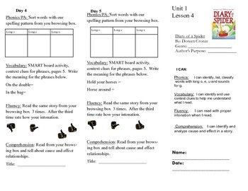 Journeys, Second Grade, Unit 1 Lesson 4, Literacy assignments