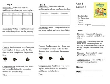 Journeys, Second Grade, Unit 1 Lesson 5, Literacy assignments