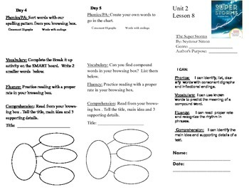 Journeys, Second Grade, Unit 2, Lesson 8, Literacy Assignment
