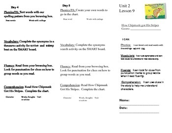 Journeys, Second Grade, Unit 2, Lesson 9, Literacy Assignment