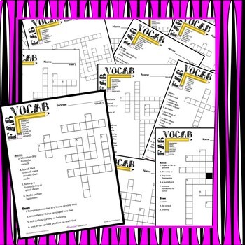 Journeys Second Grade   Vocabulary  Units 1-6 Crossword BUNDLE