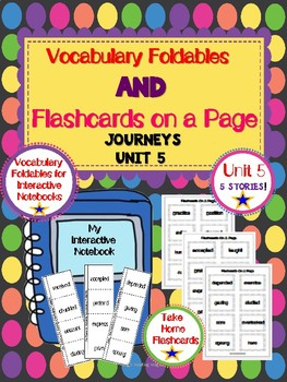 Journeys Second Grade Vocabulary Foldables and Flashcards on a Page