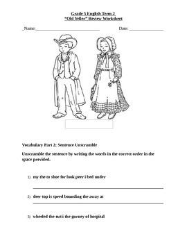 "Journey's Selection ""Old Yeller"" Comprehension & Vocabulary Worksheet"