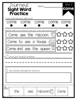 Journeys Sight Word Activities & Fluency Practice Kindergarten Unit 3