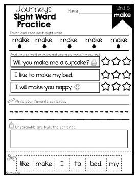 Journeys Sight Word Activities & Fluency Practice Kindergarten Unit 5