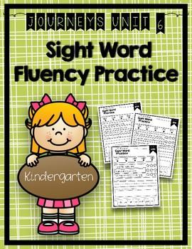 Journeys 2014 & 2017 Sight Word Fluency Practice Kindergarten Unit 6