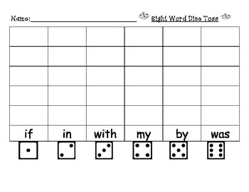 Journeys Sight Word Dice Toss Units 1-5