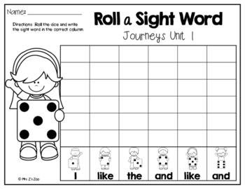 Journeys Sight Word Practice-Roll a Sight Word Kindergarten