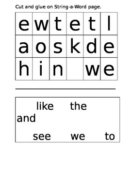 Journey's Sight Word Review Lesson 5 and 10 String a Word