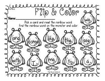 Journeys Sight Words Flip and Color