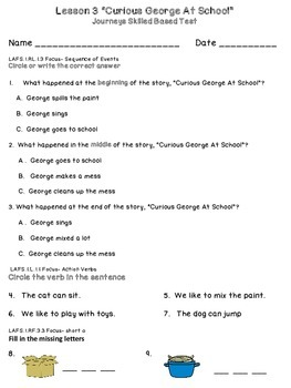 Journeys First Grade Skills Based Test Lesson 1-15 by Mrs ...