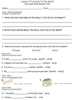 Journeys First Grade Skills Based Tests Lesson 16-30