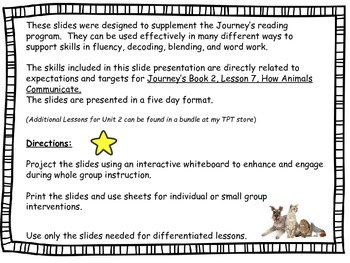 Journeys Slides First Grade Book 2 Lesson 7 How Animals Communicate?