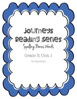 Journeys Spelling Bonus Words