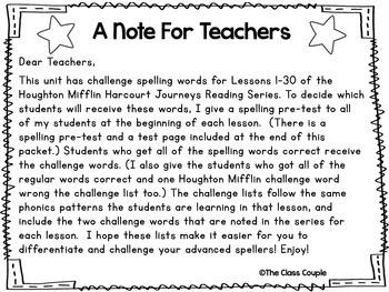 Journeys First Grade Challenge Spelling Bundle (Units 1-6)