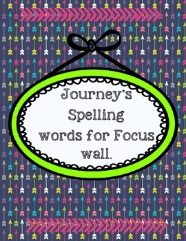 Journey's Spelling Focus wall First Grade