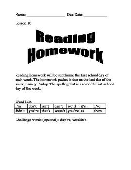 Journeys Spelling Homework Lesson 10