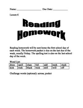 Journeys Spelling Homework Lesson 6