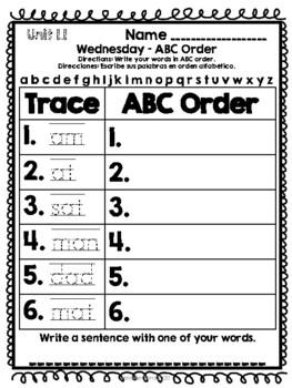 Journeys Spelling Homework Unit 1