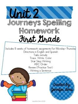 Journeys Spelling Homework Unit 2