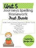 Journeys Spelling Homework Unit 5