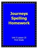Journeys Spelling Homework Unit 5 Lesson 25