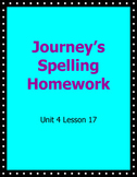 Journey's Spelling Homework Week 17